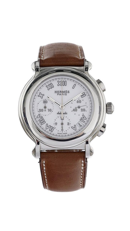 Hermès, montre ronde chronographe automatique
