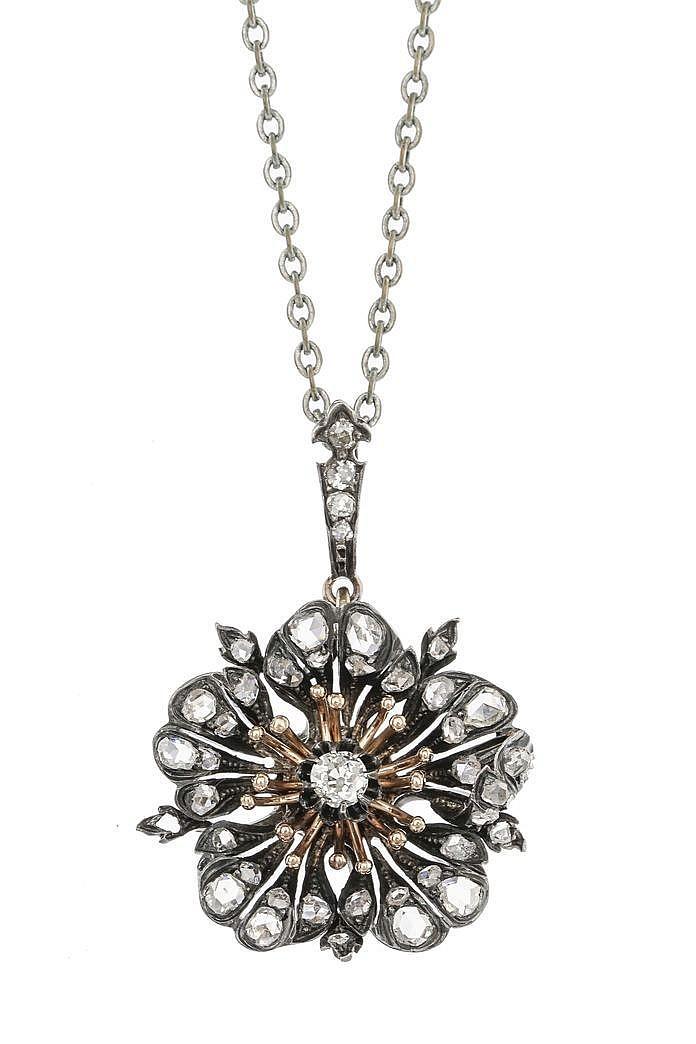 pendentif fleur serti de roses de diamants. Black Bedroom Furniture Sets. Home Design Ideas