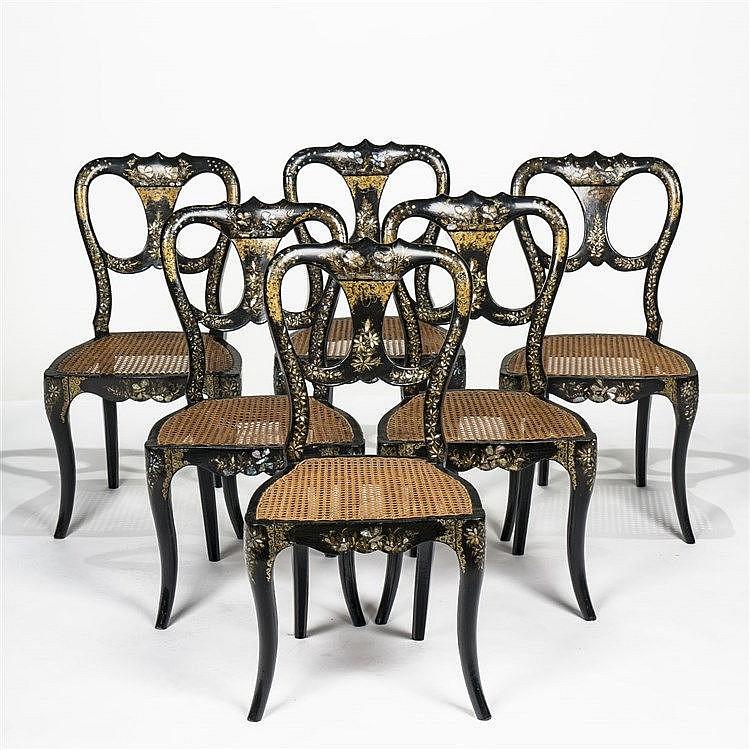 suite de six chaises cann es d 39 poque napol on iii. Black Bedroom Furniture Sets. Home Design Ideas