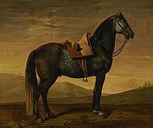 Bénigne Gagneraux (1756-1795). Cheval, huile sur toile, signée et datée 1787, 62x75 cm.