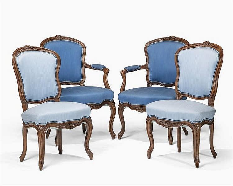 suite de deux fauteuils et deux chaises d 233 poque louis xv