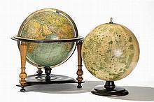 Globe terrestre et lunaire par la manufacture Paul Rath
