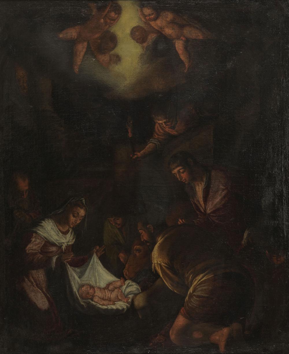 Ecole Espagnole XVIIe s - Adoration des bergers, h…