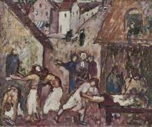 Emile Bressler (1886-1966) - Etude pour une scène de village avec un fou