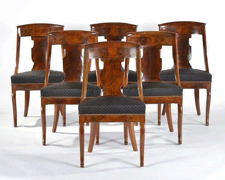 Six chaises gondole d 39 poque louis philippe acajou et garni for Chaise louis philippe ancienne