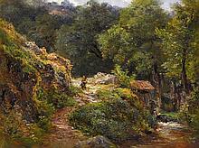 André Giroux (1801-1879) Chemin et torrent en sous-bois huile s