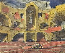 Eugene Gustavovich Berman (1899-1972)  Décor de tragédie, aquarelle et