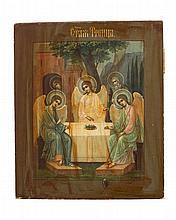 La Trinité de Roublev  Icône russe sur panneau, XIXe s, 31x26 cm