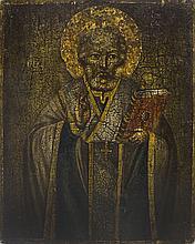 Saint-Nicolas  Icône moldave sur panneau, XVIIIe s, 30x23,5 cm