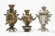 Trois samovars  Fabriques GSE (ГЗЭ), ЗШВ (SChV) et Salittchev (И. В. Са