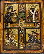 Le Christ en Croix entouré de Dieu le Père, de la Vierge à l'Enfant et de S