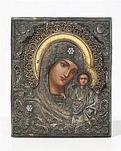 Mère de Dieu de Kazan  Icône sur panneau et oklade en argent, orfèvre B