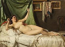 Fjodor Andrejevitj Bronnikov (1827-1902)  Jeune femme allongée nue, hui