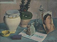 Théodore Strawinsky (1907-1989)  Nature morte au portrait, huile sur to