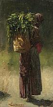 Richard Karlovich Zommer  (1866-1939)  Paysanne, huile sur toile marouf