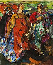 Philip Andreevic Maliavin (1869-1940)  Trois paysannes aux robes coloré