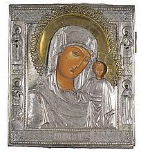 Mère de Dieu de Kazan  Icône russe sur panneau, oklade en métal argenté