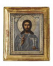 Le Christ pantocrator  Icône russe, oklade en argent et vermeil, Russie