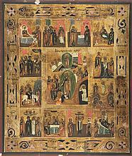 Scènes de la vie du Christ  Icône russe sur panneau, 31x26 cm