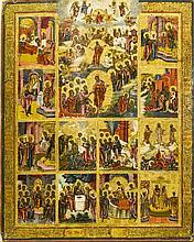 Scènes de la vie du Christ  Icône russe sur panneau, 54x43 cm