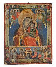 Vierge à l'Enfant sur fond bleu étoilé  Icône russe sur panneau, 33,5x2