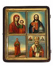 La Vierge à l'Enfant, le Christ, Sainte-Anne et Saint-Nicolas  Icône ru
