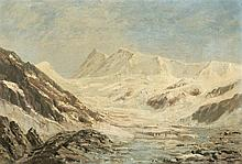 Jules Jequier (1834-1898) Glacier, huile sur carton signée, 29x43 cm