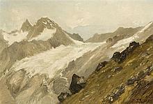 Jules Jequier (1834-1898) Glacier de Trift, huile sur carton signée, 2