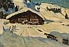 Ernst II Hodel (1881-1955)  Chalet dans la neige, huile sur carton sign, Ernst (1881) Hodel, CHF600