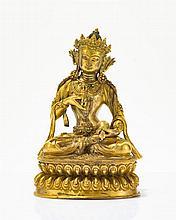 Bouddha Vajrasattva  Figuré assis, le vajra dans la main droite et la c