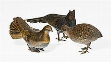 Faisan, perdrix et pigeon ramier  Suite de trois bronzes patinés et dor