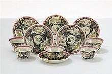 Six bols et six coupelles  Porcelaine émaillée polychrome, Chine, époqu