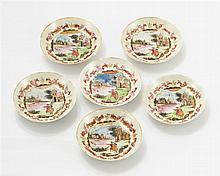 Six coupelles  Porcelaine à décor de personnages occidentaux, Chine, XV