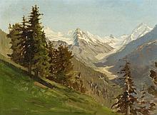 Jules Jequier (1834-1898) Paysage de montage, huile sur toile, 32x42,5