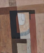 Charles Monnier (1925-1993) Variation rouge, huile sur toile, signée, 65x53 cm