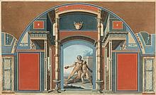 Antonius Maron, XIXe s  Intérieur pompeïen, gravure en couleurs, 51x82