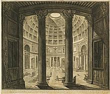 Jean-Baptiste Piranèse (1720-1788)  Veduta interna del Panteon, gravure