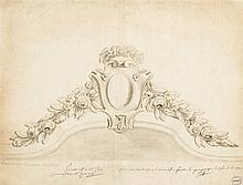 Projet d'un couronnement de miroir de toilette par la maison Odiot  Lav