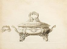 Projet de soupière par la maison Odiot  Lavis d'encre, 47,5x63,5 vm