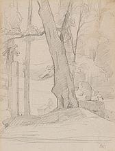 Entourage de Gustave Courbet (1819-1877)  Paysage arboré, crayon sur pa