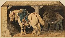 Attribués à Théodore Fort (1810-1896)  Cheval de trait à l'étable et ch