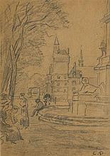 Attribuable à Camille Pissarro (1830-1903)  Place du Châtelet et la tou