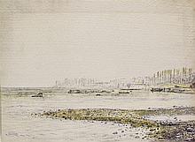 Albert Trachsel (1863-1929)  La pointe de Tougues, aquarelle sur papier