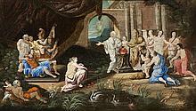 Ecole française XVIIIe s  Projet d'éventail figurant une scène mytholog