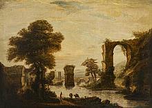 Suiveur de Claude Lorrain (1600 - 1682)  Paysage bucolique, huile sur t