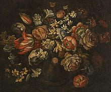 Entourage de Mario Nuzzi (1603-1673)   Nature morte aux bouquets de fle