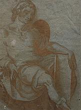 Ecole italienne du XVIe s  Personnage assis, encre, lavis et gouache, 2