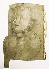 Ecole italienne XVIe XVIIe s  Putto riant et portrait de religieux, fus