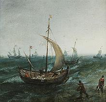 Ecole flamande du XVIIe s  Marine, huile sur cuivre, 26x26 cm