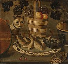 Suiveur de Georg Flegel (1566-1638)  Poissons, chat et panier de fruits